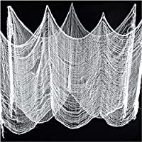"""Gardeningwill Set of 2 White Creepy Scary Gauze Cloth Doorways For Walls Entryways Halloween 30""""x84"""" With Spiders Webs"""