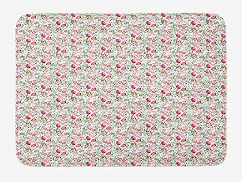 Tulip Cut Outs (CHKWYN Tulip Bath Mat, Pattern with Stylized Cute Flowers of Tulips Roses Herbs Twigs on White Background, Plush Bathroom Decor Mat with Non Slip Backing, 23.6 W X 15.7 W Inches, Multicolor)