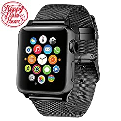 Apple Watch Band 38mm,aguara Apple Watch Accessories Milanese Loop Stainless Steel Replacement Iwatch Band Classic Buckle For Apple Watch Series 2,series 1,sport,edition (Black, 38mm)