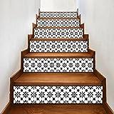 Set de 6 Pcs Sticker Carrelage Sticker Escalier Mosaïque DIY Autocollant Mural Style Mexicain 100x18cm/pcs (B)