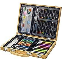 Set de 67 pinturas de colores en maletín de madera (Lápices, pasteles, ceras, rotuladores, acuarelas, Paleta, goma, pegamento y sacapuntas)