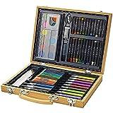 Bullet Set de couleurs 67pièces avec mallette en bois Crayons pastels à huile et cire marqueurs aquarelle Palette gomme colle Taille-crayon