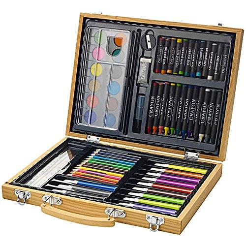 Koffer Buntstifte (Set Farben von 67Stück mit Koffer aus Holz Buntstifte Farbstifte mit Öl und Wachs Marker Aquarell Mischpalette Gummi Kleber Spitzer)