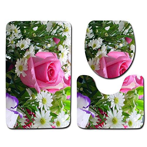 WANG-shunlida Drucken Wasseraufnahme und Rutschfeste schöne Blume Bad WC drei Stück Boden Matte, HD 0006 (Blumen-boden-matte)