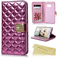 Galaxy S7 Edge Coque Mavis's Diary Étui Housse PU Cuir Antichoc Portefeuille pour Samsung Galaxy S7 Edge Bumper Rabat Clapet Flip Case Cover Bookstyle Rose Bling Strass Cartes + Chiffon