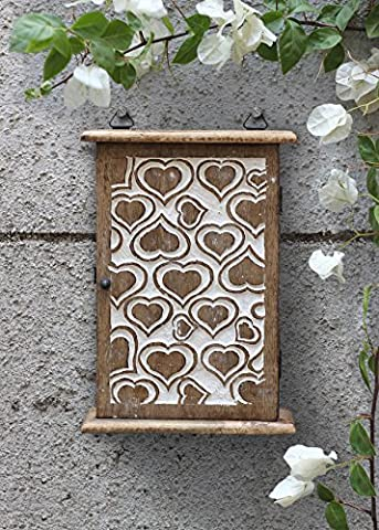 Store Indya Wooden Key Holder Box Wall Mounted Cabinet 6 Key Hooks Storage Organiser Distressed Finished with Heart Design Hallway Entryway Home Décor