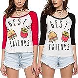 Die besten Freund Shirts Hamburger - Best Friend T-shirt partner Look mit Aufdruck Hamburger Bewertungen