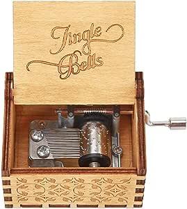 Carillon natalizio in legno decorazione natalizia a manovella carillon antico intagliato in stile vintage creativo regalo di Natale per amici e bambini LINGSFIRE