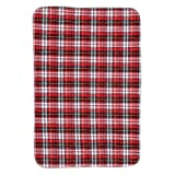 Washable Bed Pads Incontinence Urine Elder Mat Reusable Absorbent Pad Protector for Children Adults, 3-layer Structure Thickened Waterproof Design(Red Plaid)