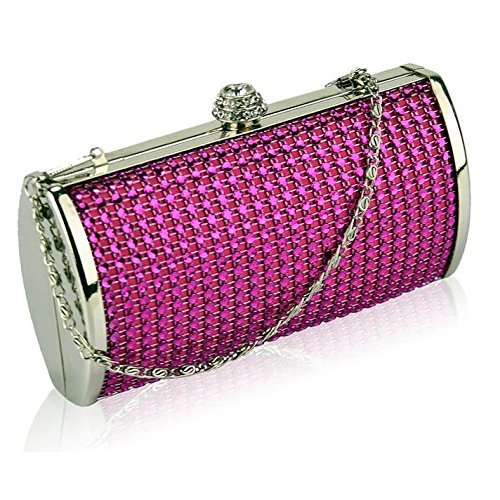 TrendStar Frau Entwerfer Glitzerndes Kristall Abend Hart Fall Kupplungs Damen Abschlussball Partei Handtasche Rosa