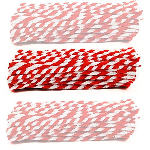 Stripey Pfeifenreiniger–Streifen Chenille Stiele 30,5cm (30) X 6mm Pfeifenreiniger Rot / Weiße Streifen (6 Mm Vorbau)