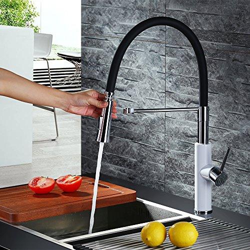 Homelody – Küchenarmatur mit hohem Auslauf, 360° drehbar, herausziehbar, Weiß-Chrom - 4