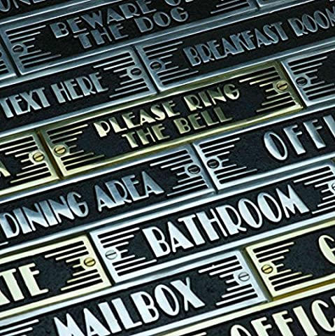 Art Deco Style Plates By The Metal Foundry – 1 Piece Casting Custom Text Signs Made Of Solid Cast Brass Or