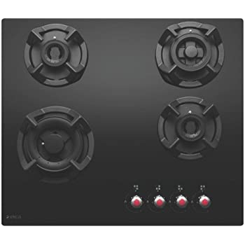 Elica Hob 4 Burner Auto Ignition Glass Top - 2 Double Ring Brass, 1 Dual Brass Burner and 1 Mini Triple Ring Brass Gas Stove (Classic MFC 4B 60 MT)