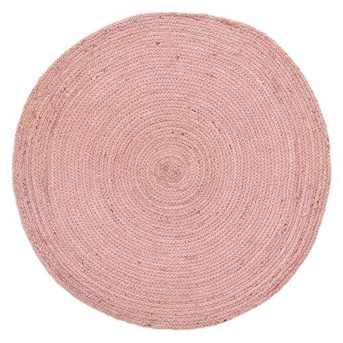 HAMID Alfombra Yute Alhambra Color Rosa- Alfombra Redonda 100% Fibra d