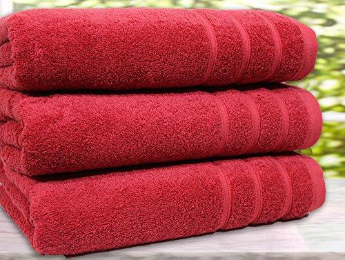 Juego de 3 toallas de baño, algodón egipcio de 550g/m², tamaño extragrande, algodón, Rojo, 3 Bath Towel
