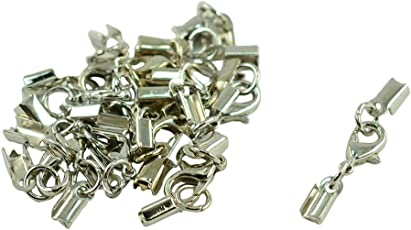 Segolike 12 Sets Lobster Clasp Clip Fold Over Cord End Crimp Caps Bail Tips Jewelry Making Findings Connector - silver