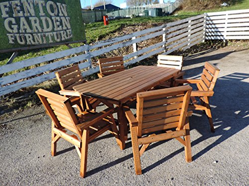 FENTON GARDEN FURNITURE. Made & Delivered Heavy Duty Wooden Garden Patio Furniture Set. 6' Table & 6 Chairs * CHUNKY & STURDY *