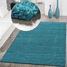 Alfombra de tipo shaggy, moderno diseño monocromático, color azul, turquesa, 160 x 220 cm