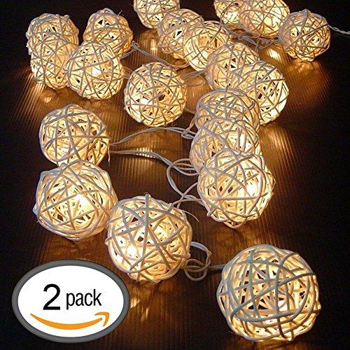 Ryham Rattan sfera luci stringa della batteria della luce LED Operated Indoor / Outdoor Lanterne (16LED 7.38FT 2,25M 2 pezzi) per Camera Wedding bambini Dormitorio soffitto Camping bianco caldo o bianco freddo