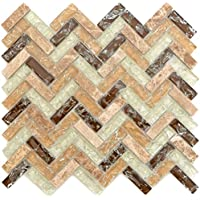 Mosaik Fliese Keramik braun Fischgr/ät Holzoptik dunkel f/ür BODEN WAND BAD WC DUSCHE K/ÜCHE FLIESENSPIEGEL THEKENVERKLEIDUNG BADEWANNENVERKLEIDUNG Mosaikmatte Mosaikplatte