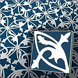 1m² Zementfliesen Mondial dunkelblau - Handarbeit - Vintage Jugendstil Fliese für Altbau Neubau