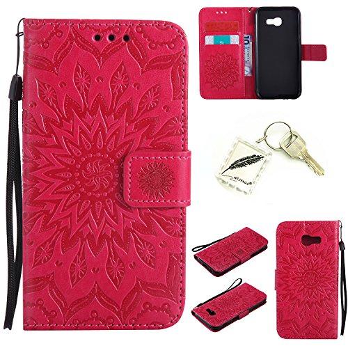 Preisvergleich Produktbild Silikonsoftshell PU Hülle für Samsung Galaxy A5 (2017) (5,2 Zoll) Tasche Schutz Hülle Case Cover Etui Strass Schutz schutzhülle Bumper Schale Silicone case+Exquisite key chain X1) #KC (6)