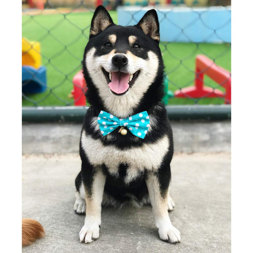 xiaoxiaoshen Pet Dog Bow Tie Tie Cat Collar Jewelry Necklace Shiba Inu Golden Hair Teddy Bow Bell