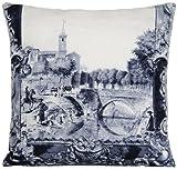 DESIGNERS GUILD Town und Bridge Kissenbezug Stoff Kissen Überwurf Fall Pictorial Szenen City of Arles Grau
