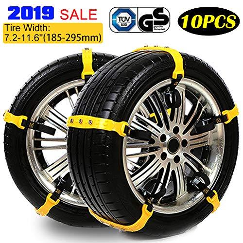 Universal Schneeketten, 10er Set Snow Chains, Anfahrhilfe Anti Skid Nail Auto Snow Tire Ketten für Auto, SUV, LKW mit 185-225mm Reifen Breite