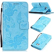Funda para Samsung Galaxy S6 Edge Plus, Galaxy S6 Edge Plus Funda de PU cuero resistente,Samsung S6 Edge Plus Ultra Slim Mariposa y Flor Colorido Diseño PU Cuero Folding Stand Flip Funda Carcasa Caso, Leather Case Wallet Protector Card Holders, SMART LEGEND Cubierta de la caja Funda protectora de cuero caso del soporte billetera Funda Carcasa con Stand Función y Imán Incorporado para Samsung Galaxy S6 Edge Plus - Azul Claro