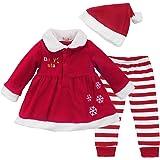 IEFIEL Costume Conjuntos de Tres Piezas Navidad Reyes Disfraces Chaqueta Fiesta Vestido + Pantalones Rayas + Gorro para Bebé