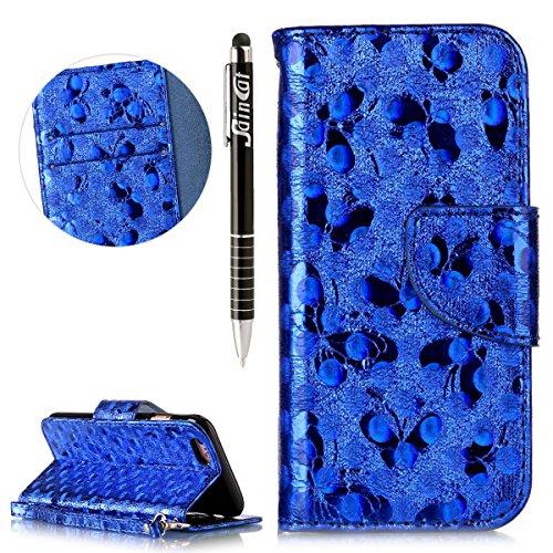 Custodia iPhone 6, iPhone 6S Flip Case Leather, SainCat Custodia in Pelle Cover per iPhone 6/6S, Anti-Scratch Book Style Protettiva Caso Elegante Creativa Dipinto Pattern Design PU Leather Flip Portaf blu