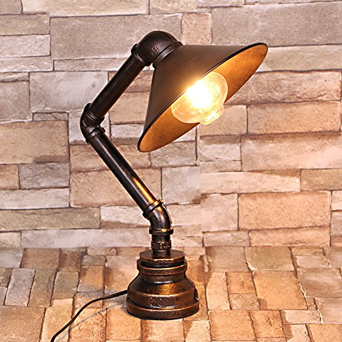 Frideko Vintage Industrial Iron Water Pipes Table Lamp For Bedside Desk  (Lampshade Style)