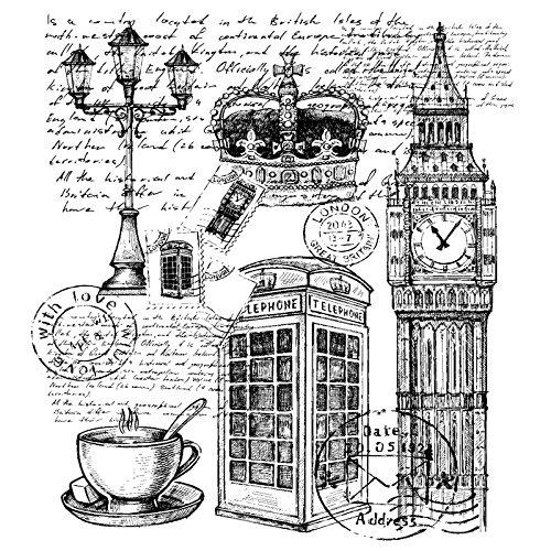 Feinkontur-Stempel | Scrapbooking, Handwerk, Heimwerk, DIY, Grußkartengestaltung (London, 15 x 15 cm)