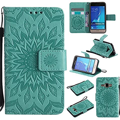 For Samsung Galaxy J1 2016 Case [Green],Cozy Hut [Wallet Case] Magnetic Flip Book Style Cover Case ,High Quality Classic New design Sunflower Pattern Design Premium PU Leather Folding Wallet Case With [Lanyard Strap] and [Credit Card Slots] Stand Function Folio Protective Holder Perfect Fit For Samsung Galaxy J1 2016 / J120F 4,5 inch -