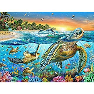 5D DIY Diamond Painting Set by Number Kits, Yeehyc Full Drill Rhinestone Cross Stitch Embroidery Arts Craft for Home Wall Decor, Sea World 11.8x15.7 inch