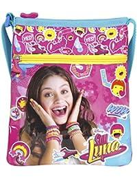 PERLETTI Bolso Bandolera de Niña con estampado Disney Soy Luna - Practica bolsa cruzada de viaje y para el ocio - Bolso de hombro con cierre frontal de color fucsia - 21x18 cm