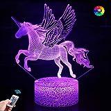 Veilleuse Licorne pour enfants et Bébé, Rechargeable Lampe Illusion 3D 16 Couleurs CChangeantes avec Télécommande, Cadeau D'a