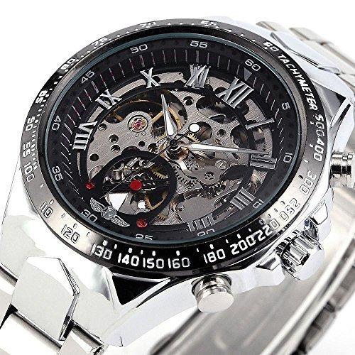 Gokelly Reloj mecánico de pulsera para hombres, diseño deportivo de metal y esfera transparente (incluye caja)