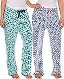 2er Packung Damen Freizeithose Lang Pyjamahose - 2er Pack - Schleifen & Floral, 2er Pack - Schleifen & Floral, L, L