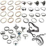 NNIOV 41Pc Fashion Boho Knuckle Rings Set for Women Girls Men, Vintage Retro Crystal Bohemian Midi Rings, Joint Nail Band Cuf