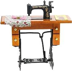 Vintage 112 Dollhouse Miniature Decorative Sewing Machine with Cloth Scissors