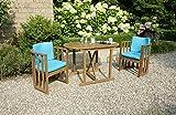 greemotion Balkonset Borkum akazie, inklusive Auflagen in Türkis, Gartenset aus FSC® zertifiziertem Holz, langlebig und witterungsbeständig, platzsparend zusammenschiebbar