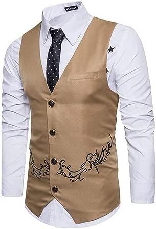 GRMO Men Button Front Plus Size Trim-Fit Vest Modern Fit Dress Waistcoat