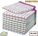Home-Tex© 10-er Set Geschirrtücher | Trockentuch | Profi-Küchentücher bunt-kariert 50x70 cm aus 100% Baumwolle | ÖKO-TEX STANDARD | Premium-Qualität