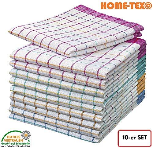 Home di tex© 10set di strofinacci | panno asciutto | per tutti gli usi di panni colorati a quadretti 50x 70cm in 100% cotone | oeko-tex standard | premium quality–versatili