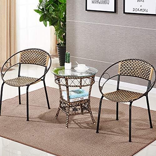 QI-shanping Patio Furniture Set 3 Stück Outdoor Wicker Bistro Set Rattan Stuhl Gesprächs-Sets mit Couchtisch / 20.1x22.4 Zoll, 20x21.6 Zoll (Color : C, Size : S(55x50cm)) -