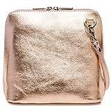 Caspar TL778 kleine elegante Damen Leder Clutch Umhängetasche, Größe:One Size, Farbe:roségold
