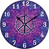 Relojes de Pared Mandala Floral Tribal Símbolo De Paz Reloj Silencioso Sin Tictac...